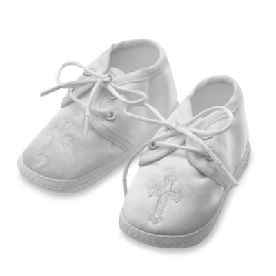 Christening > Boy's Christening Shoes with Embroidered Cross by Lauren Madison for in Small