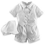 Christening Shantung Boxer Shorts with Brocade Vest Set