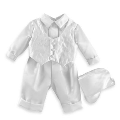 Christening > Boy's Long Christening Pant Set with Quilted Vest by Lauren Madison in Sizes 6 - 9 Months