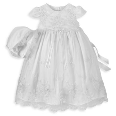 Christening > Girl's Long Christening Dress with Floral Embroidery by Lauren Madisonin Sizes 6 - 9 Months