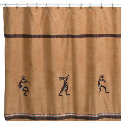 Avanti Kokopelli 72-Inch x 72-Inch Fabric Shower Curtain in Nutmeg