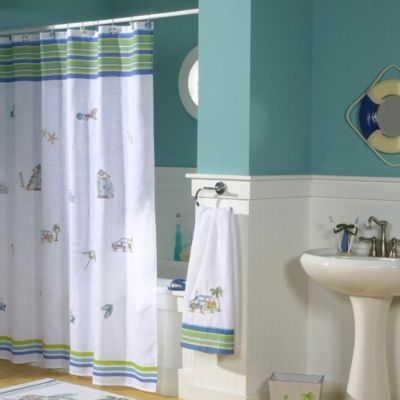Ocean Surf 70-Inch x 75-Inch Fabric Shower Curtain