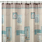 Coastal Collage 70-Inch x 71-Inch Fabric Shower Curtain