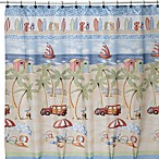 Beach Bum 70-Inch x 70-Inch Fabric Shower Curtain