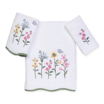 Avanti Premier Country Floral Washcloth in White