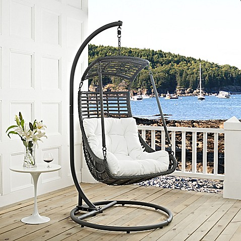 Modway jungle patio stand alone swing chair bed bath for White porch swing with stand