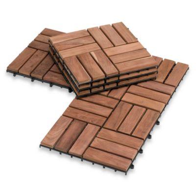 """Kwick Klick™ 12"""" x 12"""" Teak Flooring (10-Piece)"""