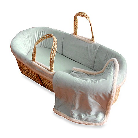Tadpoles™ Sage Micro-Suede Moses Basket with Sherpa Trim