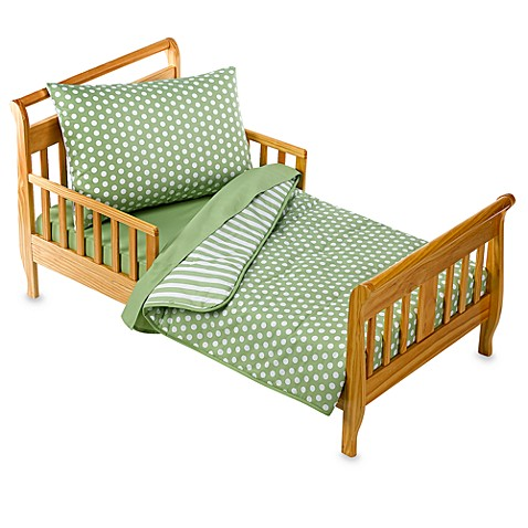 Tadpoles™ Green Dot/Stripe 4-Piece Toddler Bedding Set, 100% Cotton