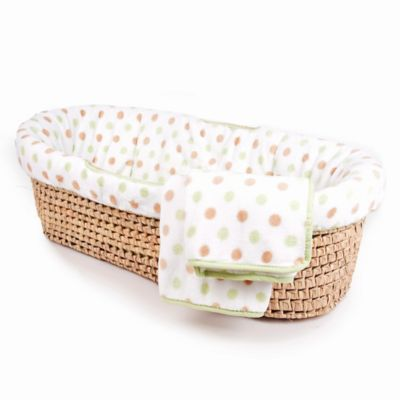 Tadpoles™ Fleece Dotted Moses Basket in Green