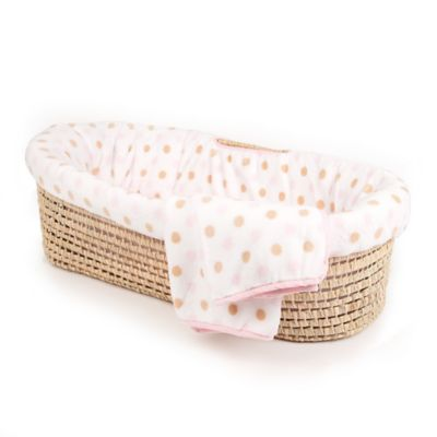 Tadpoles™ Fleece Dotted Moses Basket - Pink