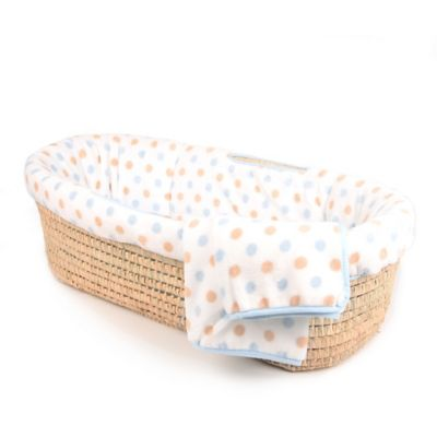 Tadpoles™ Fleece Dotted Moses Basket - Blue