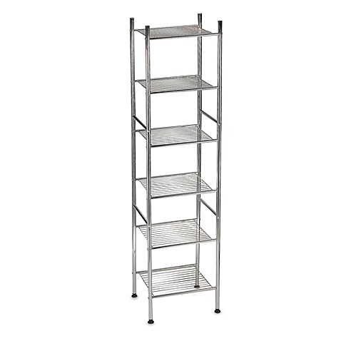 6 Tier Metal Tower Shelf In Chrome Bed Bath Amp Beyond
