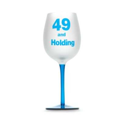 "Singles ""49 and Holding"" 16-Ounce Wine Glass"