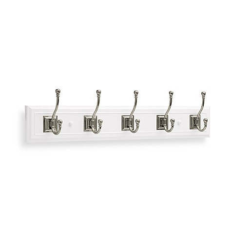 White Hook Rail with Satin Nickel Double Hooks