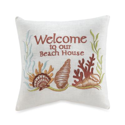 """Welcome to Our Beach House"" Seashell Embroidered Toss Pillow"