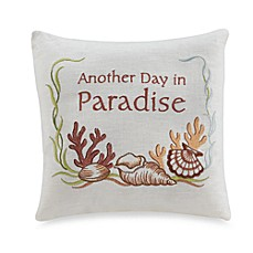 Another Day in Paradise-Foot Seashell Embroidered Toss Pillow