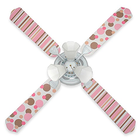Ceiling Fan by Sweet Pea Gallery in Pink and Brown Dots and Stripes