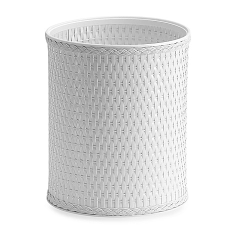 White Wicker Wastebasket