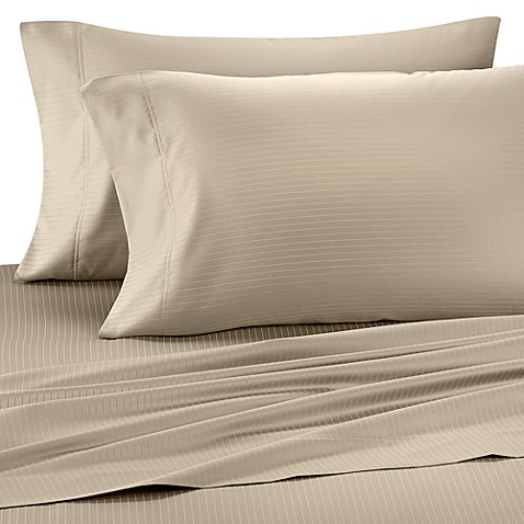 Wamsutta® 1000 Sateen Queen Sheet Set in Canvas Stripe