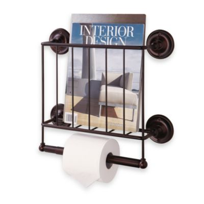 Oil Rubbed Wall Mount Magazine Rack in Bronze
