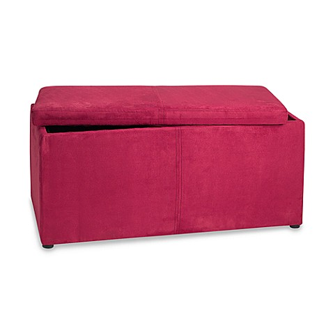 pink faux suede ottoman storage bench bed bath beyond