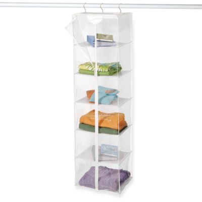 Clear Vinyl 6-Shelf Sweater Rack with Maxi Rack