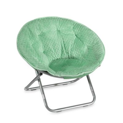 Dotted Plush Saucer Chair - Green