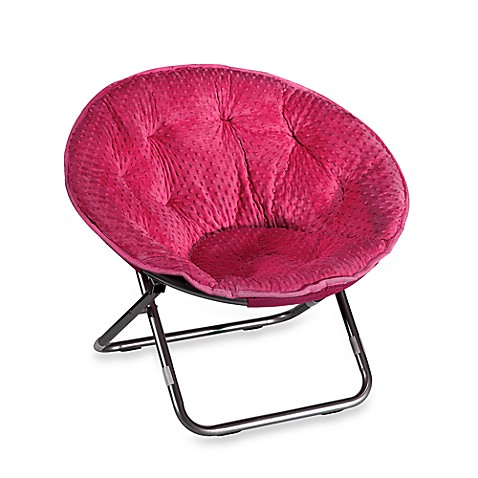 Dotted Plush Saucer Chair - Pink