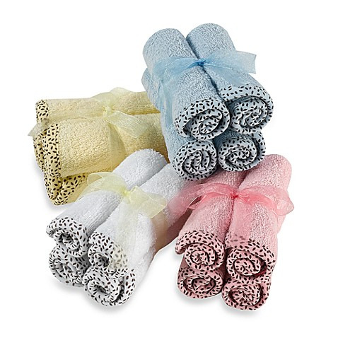 Frenchie Mini Couture Washcloth with Swirl Print Binding (4-Pack)
