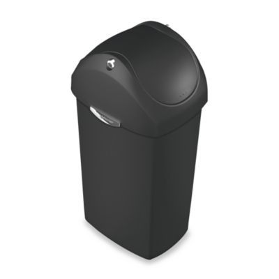simplehuman® Plastic Swing Lid 60-Liter Trash Can in Black
