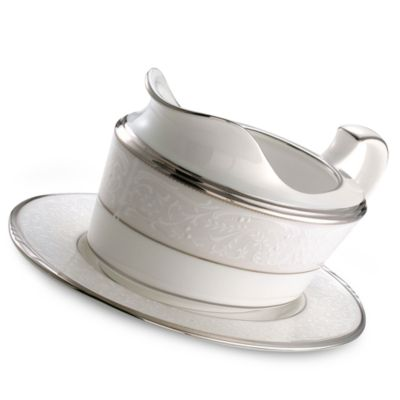 Noritake® Silver Palace Gravy Boat With Tray