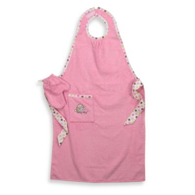 Pink Staydry™ Bath Towel Apron and Wash Mitt