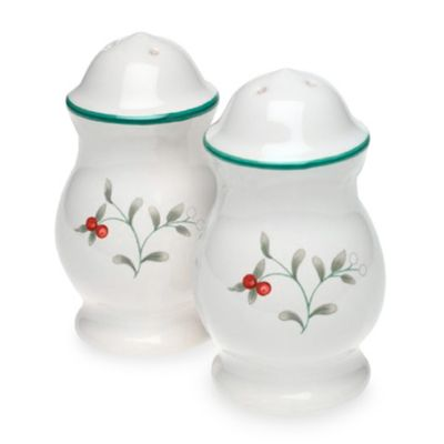 White Green Salt and Pepper Shakers