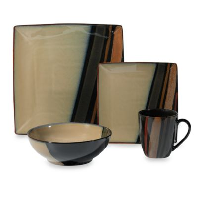 Black Brown Dinnerware Set