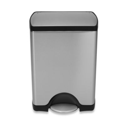 simplehuman® Deluxe Stainless Steel Fingerprint-Proof Rectangular 30-Liter Step-On Trash Can