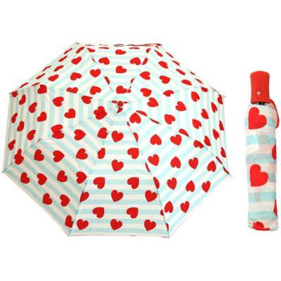 Betsey Johnson® Auto Open Umbrella in Stripe/Heart