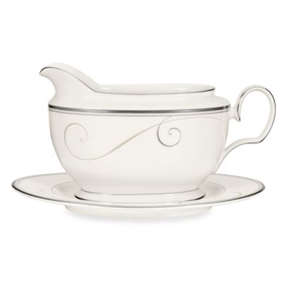 Noritake® Platinum Wave Gravy Boat with Tray