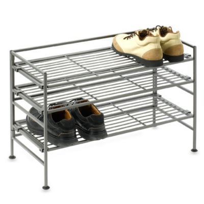 Storage Basics 3-Tier Low Iron Stackable Shoe Rack