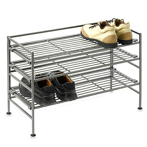 Buy 3-Shelf Wooden/Metal Shoe Rack from Bed Bath & Beyond