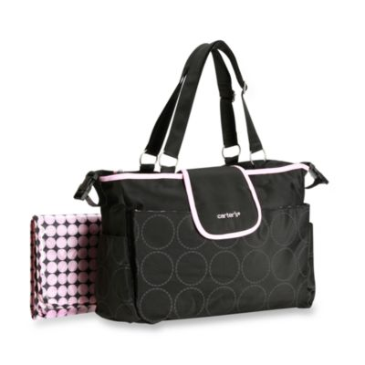 Carter's® Out and About Tonal Dot Diaper Bag in Black and Pink