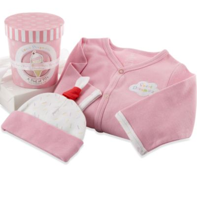 Baby Aspen Sweet Dreamzzz A Pint of PJs Sleep-Time Gift Set 100% Cotton in Strawberry