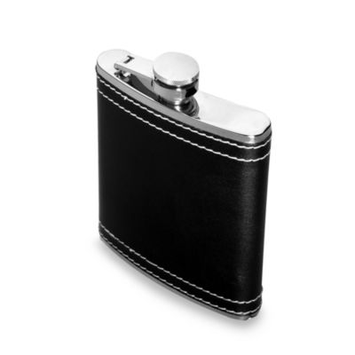Oenophilia 6-Ounce Leather Flask with Stitching