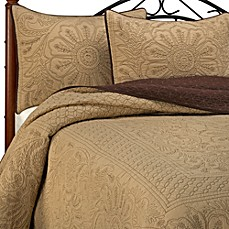Vallejo Chocolate Bedspread and Sham, 100% Cotton