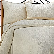 Vallejo Ivory Bedspread and Sham, 100% Cotton