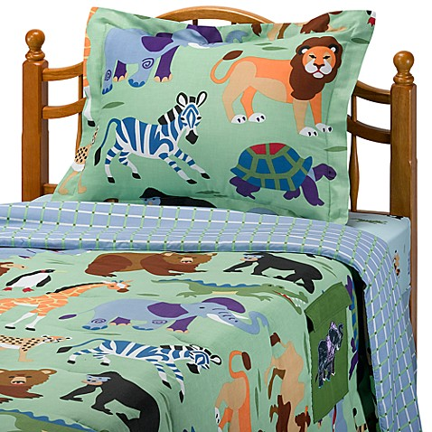 Olive kids wild animals mini comforter set bed bath for Wild bedding