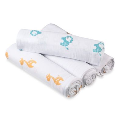 aden® by aden + anais® 4-Pack Muslin swaddleplus® Blankets in Safari Friends