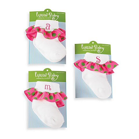 Mud Pie™ Initial Ruffle Socks - 0 to 12 Months