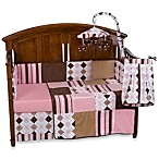Prep School Pink 4-Piece Crib Bedding Set, 100% Cotton