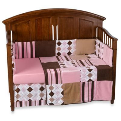 Prep School 100% Cotton 4-Piece Crib Bedding Set in Pink